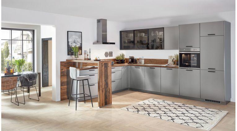 Moderne L-Küche Inox von Nobilia mit Front in Lacklaminat, Stahl