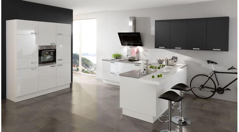 3-teilige L-Küche Fiona von Wert Küche mit Front in Lack Hochglanz, Kristallweiss und Lavaschwarz