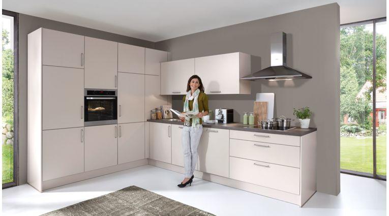 Hochwertige Einbauküche Nora von Wert Küche mit Front in Sandgrau