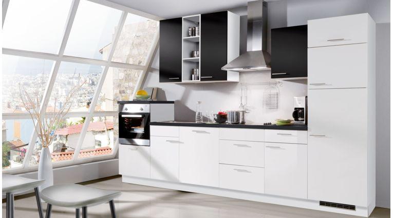 Küchenzeile Star von Express mit Front in Schwarz Matt und Weiss Hochglanz