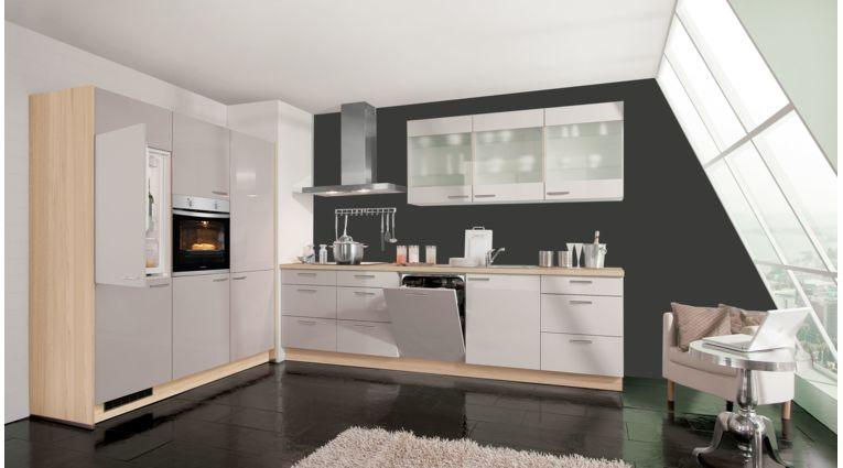 Moderne Küchenzeile Sky von Express mit Front in Hochglanz, Crema