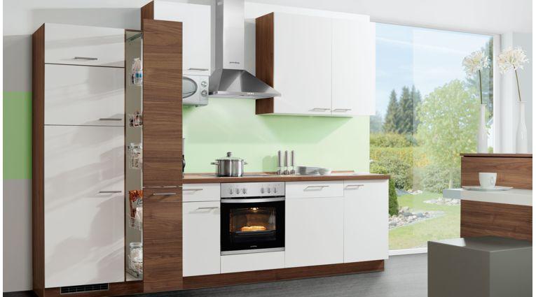 Zweifarbige Küchenzeile Win von Express mit Front in Matt, Weiß und Nussbaum