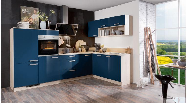 Farbenfrohe L-Küche Star von Express mit Front in Hochglanz, Dunkelblau