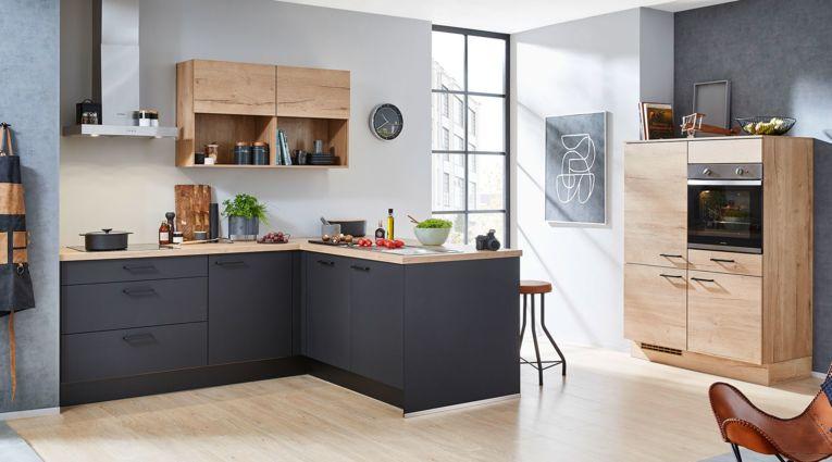 Moderne L-Küche Easytouch von Nobilia in Ultramatt, Grafitschwarz