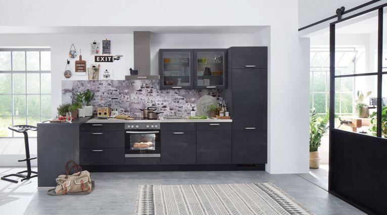 Kompakte Einbauküche Speed von Nobilia mit Front in Schwarzbeton Nachbildung