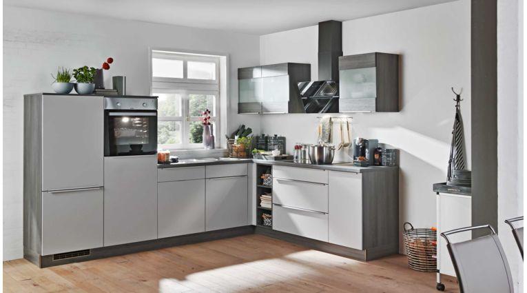 L-Küche Win von Express mit Front in Matt, Hellgrau