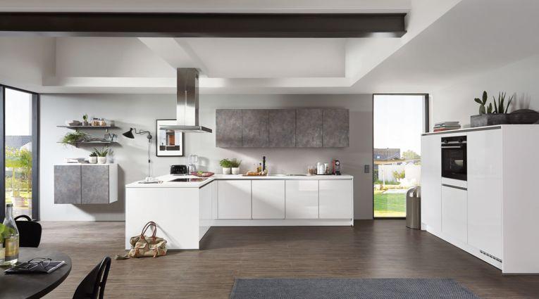 Grifflose L-Küche Focus von Nobilia mit Front in Hochglanz, Alpinweiss
