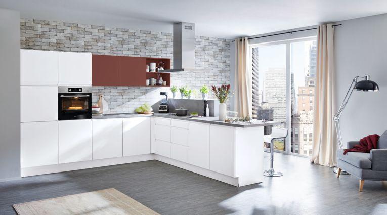 Grifflose L-Küche Sigma von Nolte Küchen mit Front in Softmatt, Weiss