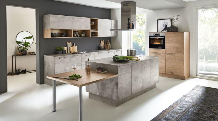 Originelle 3-teilige Küche Stone von Nolte Küchen mit Front in Beton