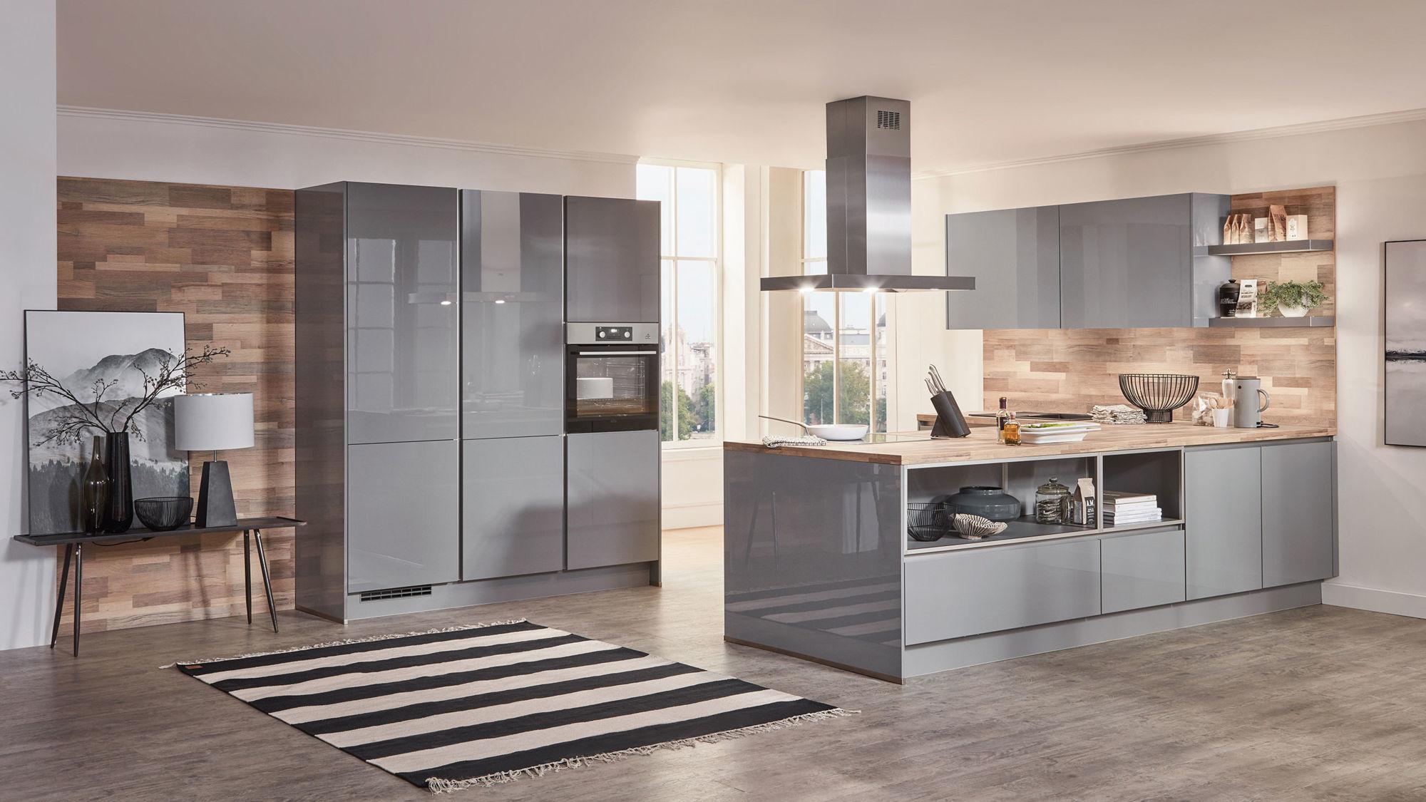 Hochwertige L-Küche Focus von Nobilia mit Front in Hochglanz Lack,  Mineralgrau